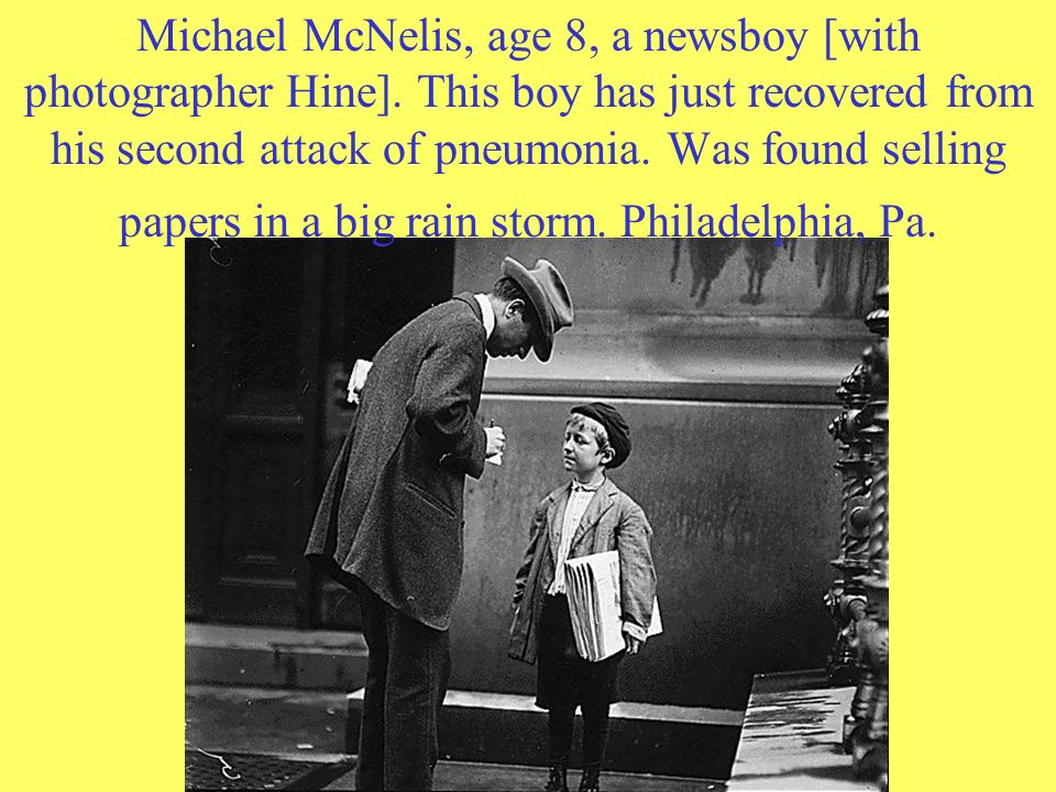 Michael McNelis, age 8, a newsboy [with photographer Hine]